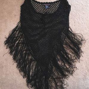 Poncho Cloak 1 Size Black Crochet